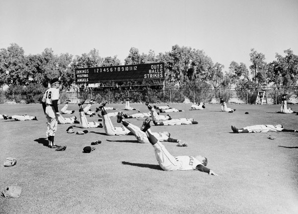 The Los Angeles Angels, an expansion team in 1961, warm up at the Polo Grounds in Palm Springs. Courtesy of the Los Angeles Examiner Collection, USC Libraries.