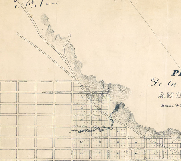 Seventh and Grasshopper (later renamed Figueroa) didn't intersect on E. O. Ord's 1849 map of Los Angeles. Courtesy of the Map Collection, Los Angeles Public Library.