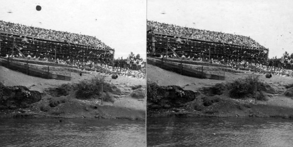 Stereograph of the pigeon farm. Courtesy of the Photo Collection, Los Angeles Public Library.
