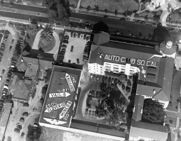This 1928 aerial photo shows the tree's location on the Auto Club campus. Courtesy of the Los Angeles Examiner Collection, USC Libraries.