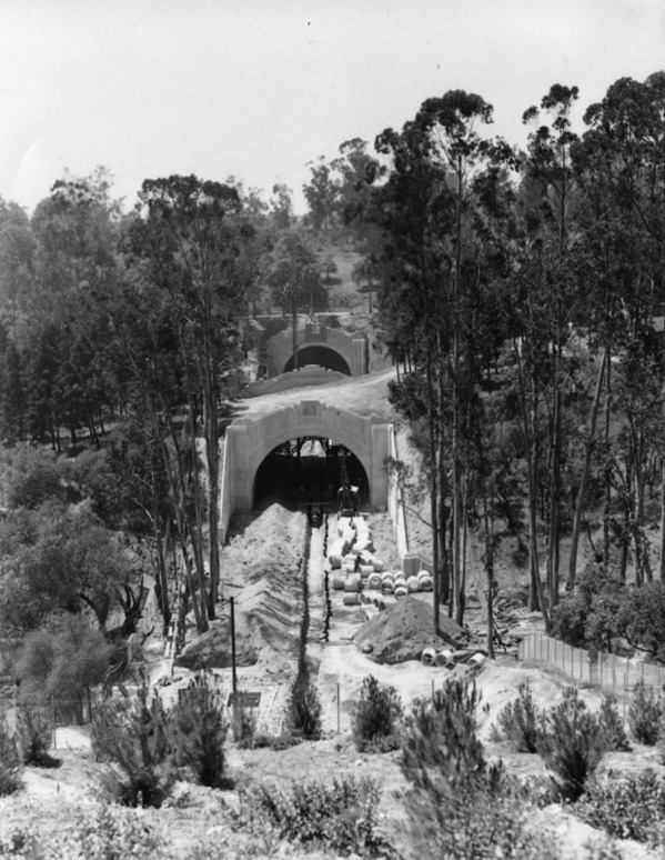 Figueroa Street's northern extension toward Pasadena, made possible by a series of tunnels, cut through the eastern side of Elysian Park. Courtesy of the Security Pacific National Bank Collection, Los Angeles Public Library.