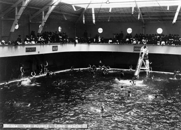 A view inside the Long Beach plunge on the Pike, ca.1920. Courtesy of the Photo Collection - Los Angeles Public Library.