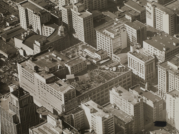 An undated oblique aerial photo of downtown Los Angeles at Eighth and Broadway. Courtesy of the Watson Family Photographic Archive.