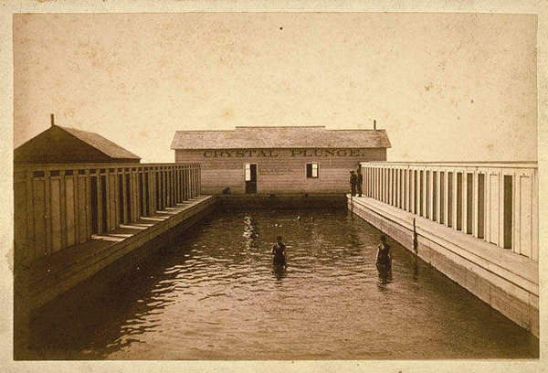 Built in 1887 by George Kintz, the Crystal Springs Plunge welcomed swimmers until a flood destroyed it in 1905. Courtesy of the Santa Monica Public Library Image Archives.