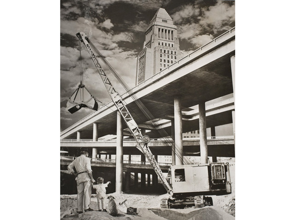 A composite photograph showing Los Angeles City Hall, the Four Level interchange, and two members of the Watson family. Courtesy of the Watson Family Photographic Archive.