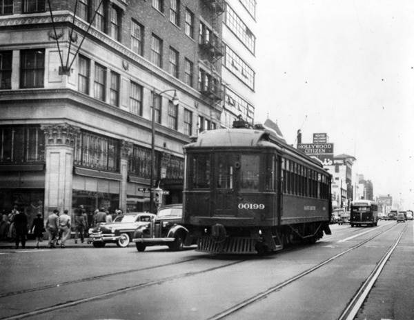 From the steam trains of the Cahuenga Valley Railroad to the red cars of the Pacific Electric Railway, fixed-rail vehicles rolled through Hollywood and Vine for decades. Courtesy of the Photo Collection - Los Angeles Public Library.