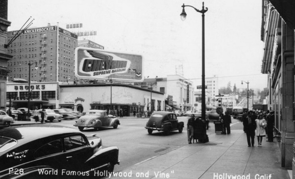 1949 postcard depicting Hollywood and Vine. The Melody Lane Cafe stands at the intersection's northwest corner. Courtesy of the Photo Collection - Los Angeles Public Library.