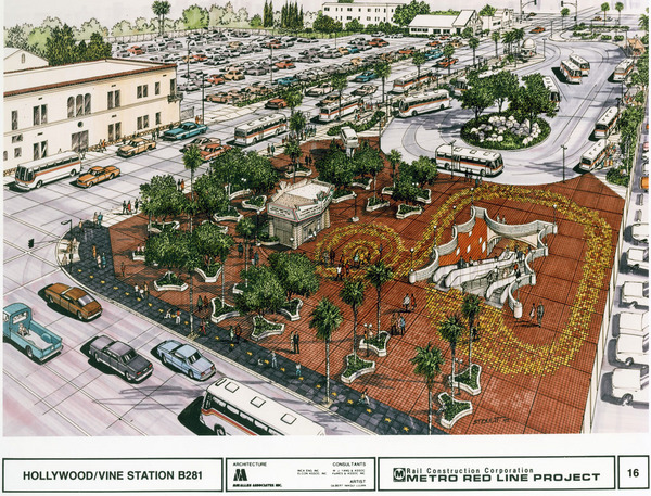 1993 artist's rendering of the Metro Red Line station at Hollywood and Vine. Today the station remains, surrounded by the W Hollywood Hotel. Courtesy of the Metro Transportation Library and Archive