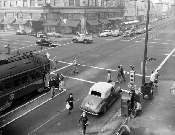 Hollywood and Vine appears unusually empty in this 1952 photo, taken during a civil defense air raid. Courtesy of the USC Libraries - Los Angeles Examiner Collection.