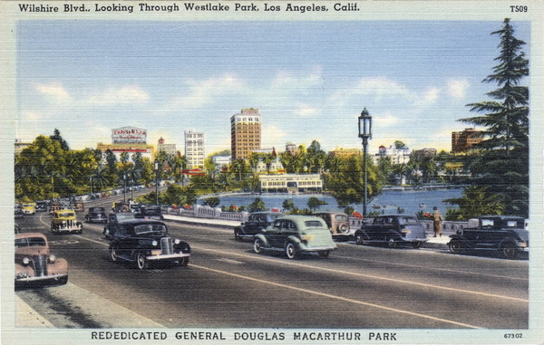 The Wilshire causeway permanent changed Westlake Park, once the city's most popular outdoor retreat. Image courtesy of the Werner Von Boltenstern Postcard Collection, Department of Archives and Special Collections, Loyola Marymount University Library.