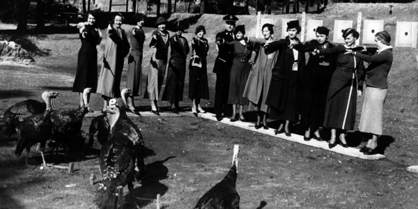 Women from the Ebell and Friday Morning Clubs aim their pistols at a 1934 turkey shoot sponsored by the LAPD Revolver Club. Courtesy of the Herald-Examiner Collection, Los Angeles Public Library.