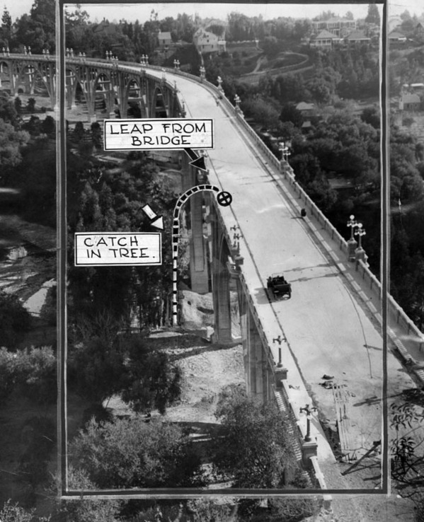 Dozens of people have leapt to their deaths from the bridge, known by some as 'Suicide Bridge.' Courtesy of the Herald-Examiner Collection, Los Angeles Public Library.