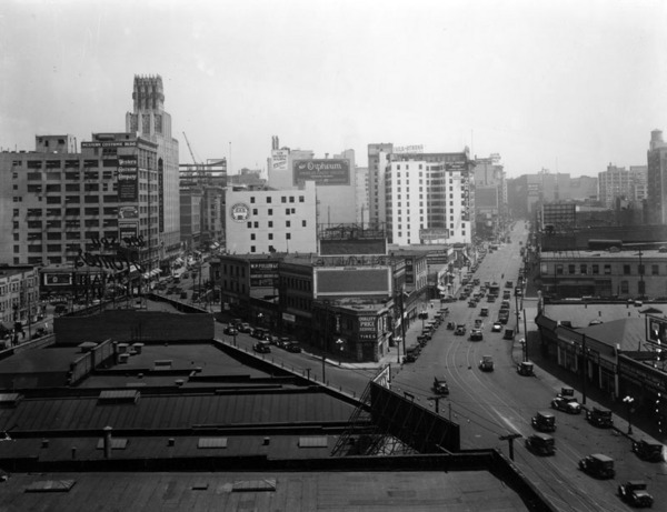 Broadway Place is the diagonal street in this undated photo, which shows the triangle-shaped block created by the 1893 extension. Main Street appears on the right and Broadway on the left. Courtesy of the Photo Collection - Los Angeles Public Library.