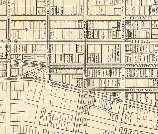 Broadway Place appears on the left side of this detail of a 1931 map. Courtesy of the Map Collection - Los Angeles Public Library.