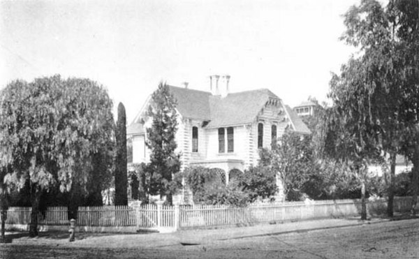 By the late 1870s, Fort Street had become Los Angeles' most fashionable residential street. Pictured here is the house of lawyer Henry O'Melveny at Fort and Second. Courtesy of the Photo Collection - Los Angeles Public Library.