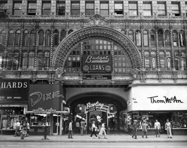 1953 view of Broadway-Spring Arcade, which follows the path of Mercantile Place. Courtesy of the Herald-Examiner Collection - Los Angeles Public Library.