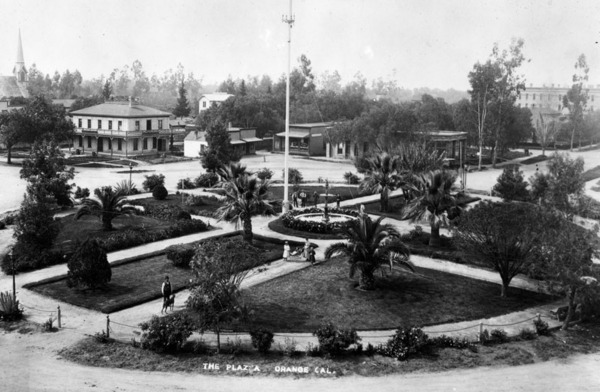 The Orange Plaza, circa 1891. Courtesy of the Security Pacific National Bank Collection - Los Angeles Public Library.