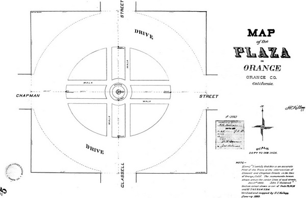 1893 survey map of the Orange Plaza. Courtesy of the Orange County Archives.