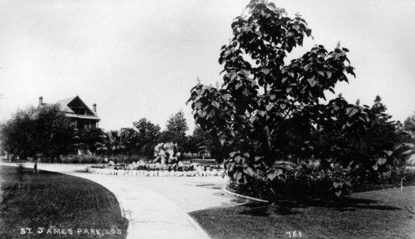 St. James Park, circa 1896. Courtesy of the Security Pacific National Bank Collection - Los Angeles Public Library.