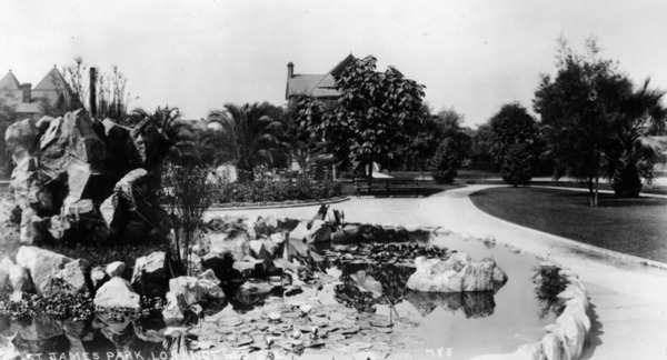 Another view of the St. James Park fountain Courtesy of the Security Pacific National Bank Collection - Los Angeles Public Library.