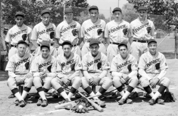 These baseball players represented Ivanhoe, a boomtown that lost its independent identity and is now known as Silver Lake. Courtesy of the USC Libraries - Dick Whittington Photography Collection.