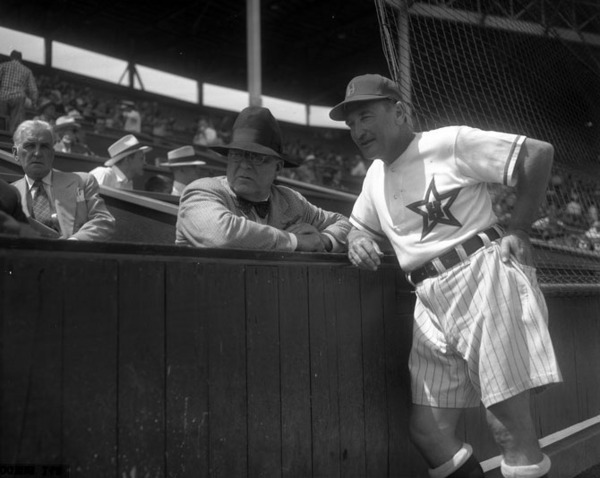 The unorthodox uniforms were the brainchild of Stars manager Fred Haney, pictured here with Brooklyn Dodgers owner Branch Rickey. Courtesy of the Los Angeles Times Photographic Archive, UCLA Library.