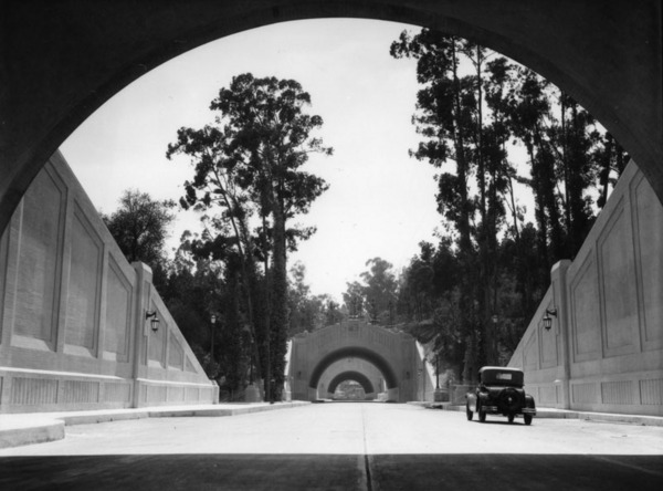 A 1931 view of the Figueroa Street Tunnels, shortly after the first three opened to traffic. Courtesy of the Security Pacific National Bank Collection - Los Angeles Public Library.