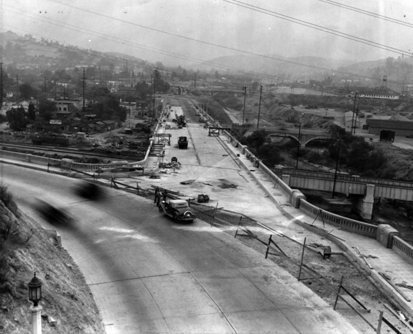 In 1937, the Figueroa Street Viaduct opened across the Los Angeles River, providing a more direct connection between the tunnels and points northeast. Courtesy of the Herald-Examiner Collection - Los Angeles Public Library.
