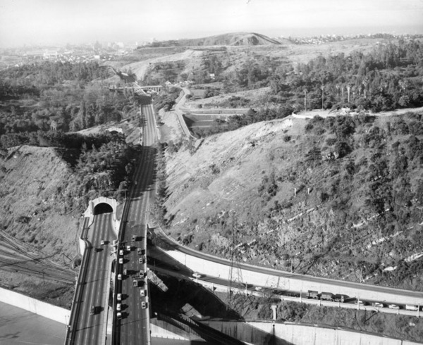After 1943, the Figueroa Street Tunnels carried the Arroyo Seco Parkway's northbound traffic. Courtesy of the Herald-Examiner Collection - Los Angeles Public Library.