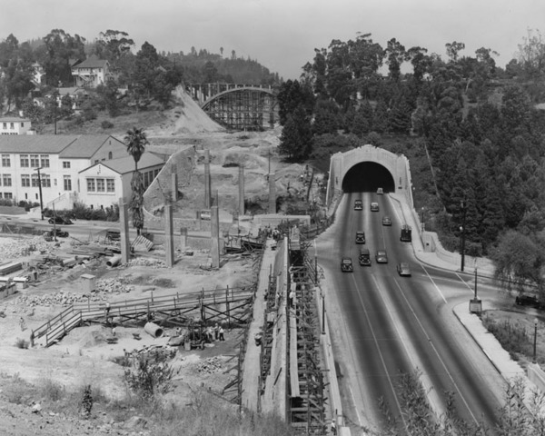 Another view of the Arroyo Seco Parkway's southbound lanes under construction in 1941. Courtesy of the Herald-Examiner Collection - Los Angeles Public Library.