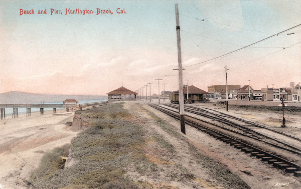 Tracks along Huntington Beach, circa 1908. Courtesy of the Orange County Archives.