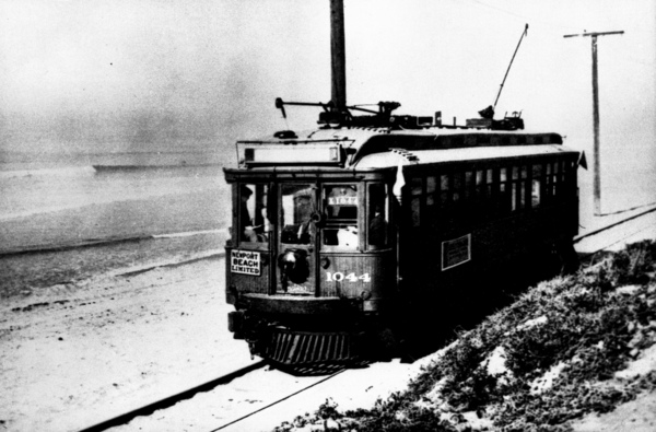 A red car bound for Newport Beach. Courtesy of the Orange County Archives.