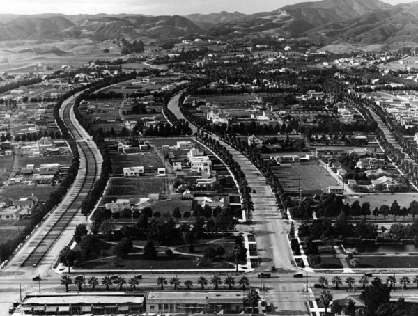 Aerial view of Beverly Hills in 1921, showing Rodeo Drive and its bridle path on the far left. Courtesy of the Security Pacific National Bank Collection - Los Angeles Public Library.