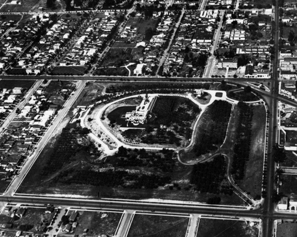 A circa 1920 aerial view of the Olive Hill Tract, which has since been sliced into the Barnsdall Art Park, apartment homes, a shopping center, and the Kaiser Permanente hospital. Courtesy of the Photo Collection - Los Angeles Public Library.
