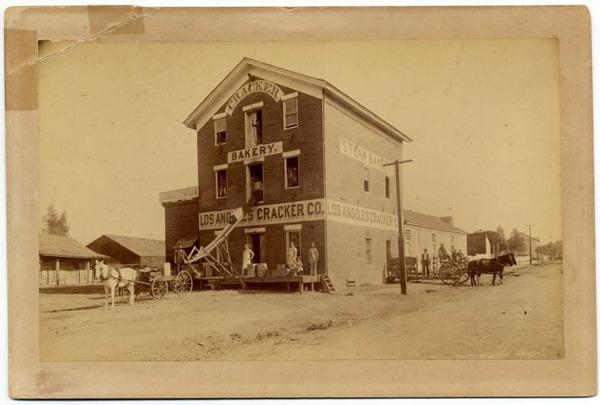 The Los Angeles Cracker Company, seen here circa 1886, stood at the junction between Aliso Street and Old Aliso Road. Courtesy of the California State Library.