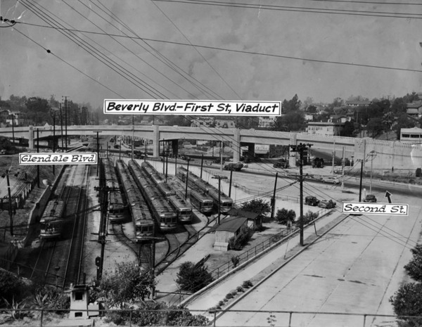 Another view of the viaduct, shortly before its September 1942 completion. Courtesy of the Herald-Examiner Collection - Los Angeles Public Library.