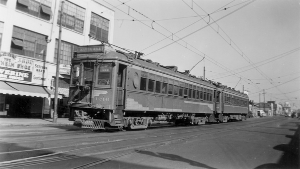 A Pacific Electric car in downtown Santa Ana, circa 1940s. Courtesy of the Orange County Archives.