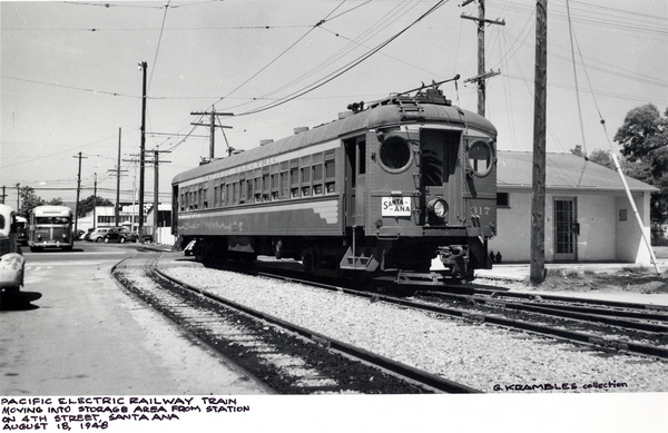 A Pacific Electric red car in Santa Ana in 1948, shortly before rail service to Orange County ended. Courtesy of the Metro Transportation Library and Archive.