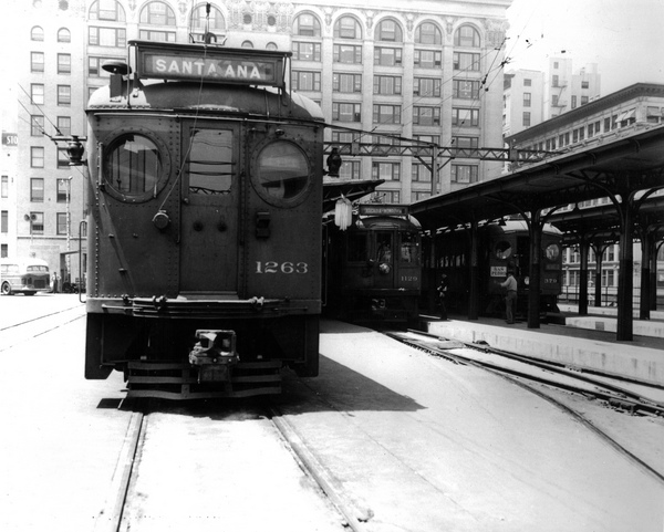 A Santa Ana-bound car at the Pacific Electric's downtown L.A. terminal. Courtesy of the Metro Transportation Library and Archive.