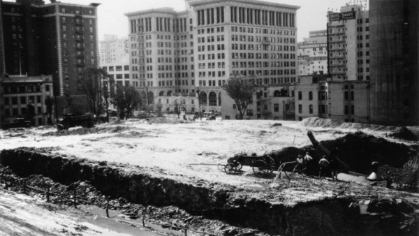 Construction of the Central Library, which replaced the Normal School, more or less flattened Normal Hill beyond recognition. Circa 1922 photograph courtesy of the Photo Collection - Los Angeles Public Library.