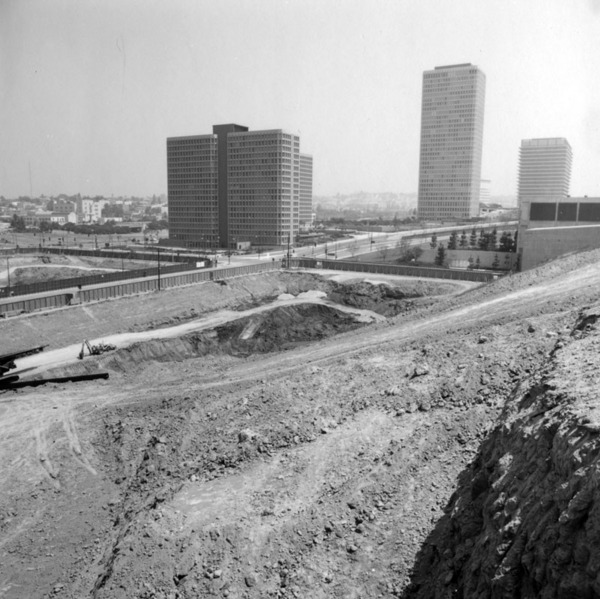 Modern towers rise from a flattened Bunker Hill in 1971. Courtesy of the Security Pacific National Bank Collection - Los Angeles Public Library.