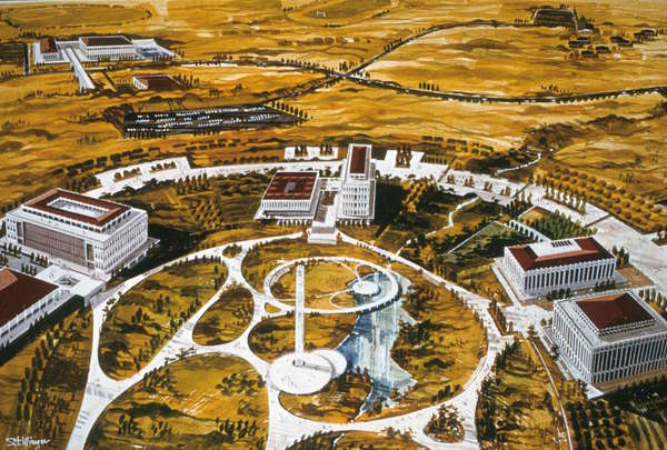 A 1965 rendering of the UC Irvine campus. Courtesy of the Special Collections and Archives, UC Irvine Libraries.