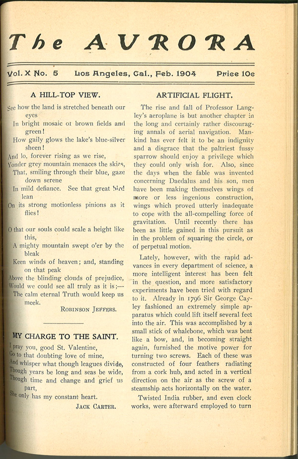 The Aurora was a quarterly student publication at Occidental College. Jeffers published an early poem in this Feb. 1904 issue. Courtesy of the Special Collections, Occidental College.