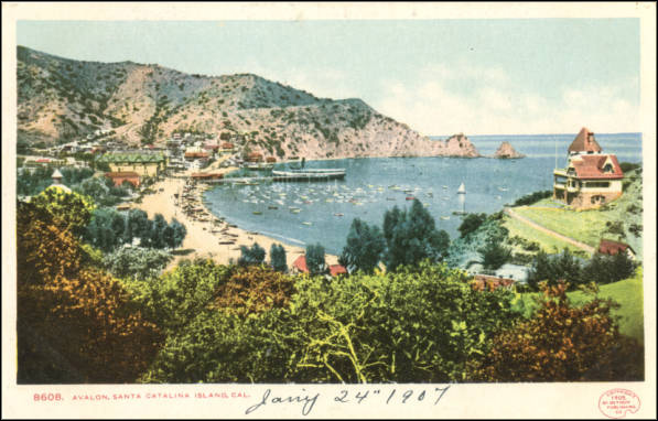 Postcard depicting the town of Avalon on Santa Catalina Island, 1907. From the James H. Osborne Photograph Collection