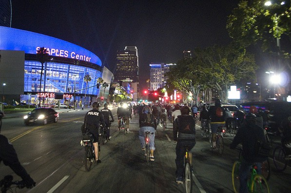 A Critical Mass bicycle ride in downtown Los Angeles in March 2011