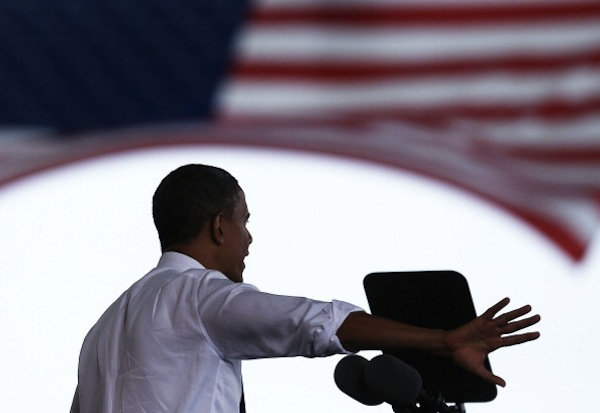 U.S. President Barack Obama speaks during a campaign rally at the Farm Bureau Live arena, on September 27, 2012 in Virginia Beach, Virginia. | Photo by Mark Wilson/Getty Images