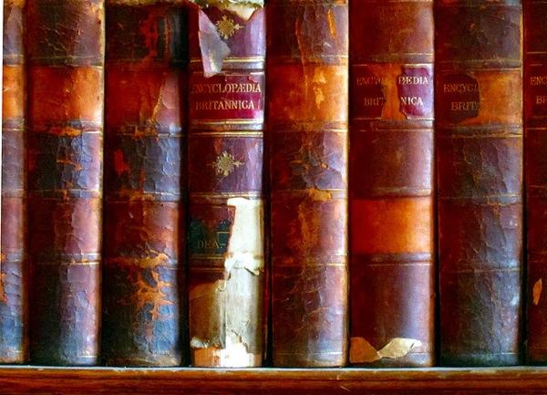Old Encyclopedia Britannica volumes.