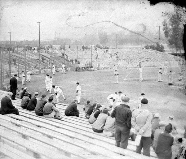 The Chicago White Sox training in Pasadena's Brookside Park. Courtesy of the Pasadena Public Library.