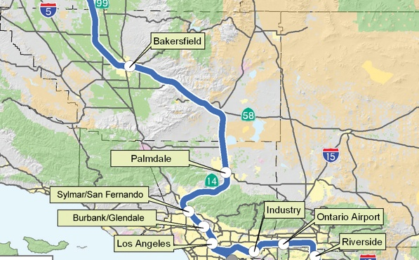 The proposed Bakersfield to Palmdale to L.A. route | Map via CAHSR