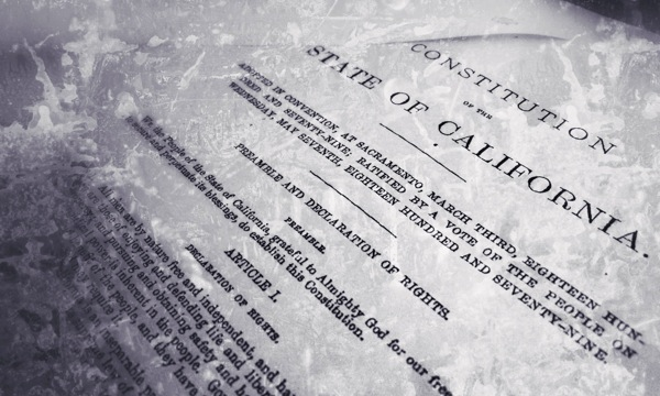 Filtered photo of a copy of the California Constitution. | Photo/Editing: Zach Behrens/KCET
